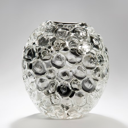 bubblewrap effect hand blown glass sculpture ornament with mirrored interior