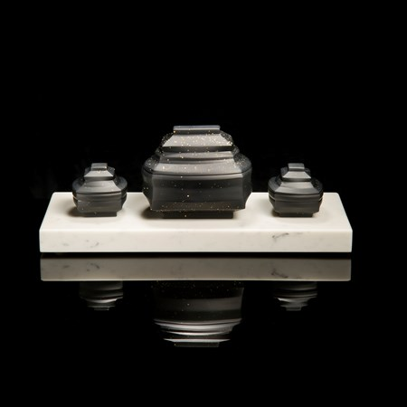 korean art glass ornament of teaset in marble and black colours and gold speckles