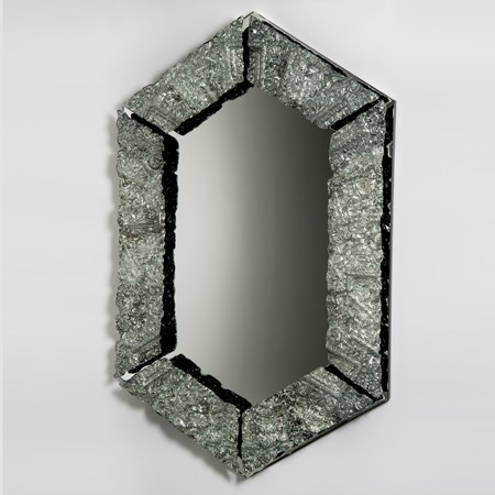 square edged 0-shaped silver art glass mirror