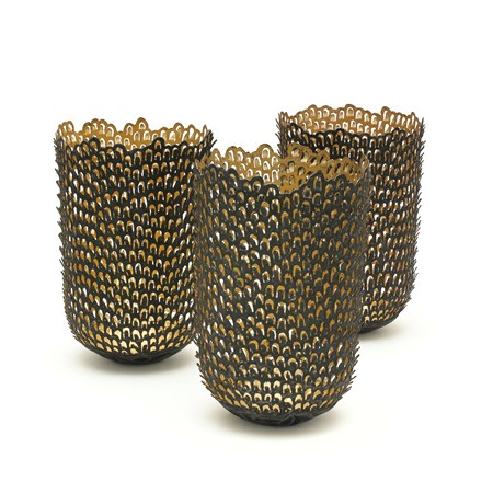 three steel and gold vase sculptures made from small pieces of stacked steel and gold