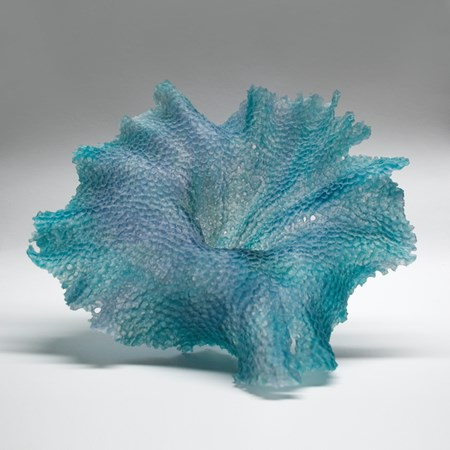 modern art glass sculpture of leaf in turquoise