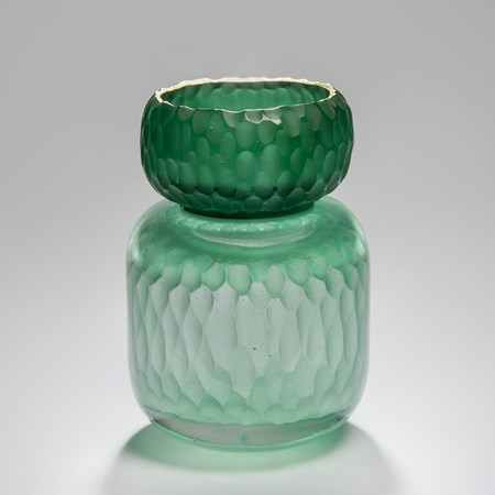 green sculpted glass jar artwork