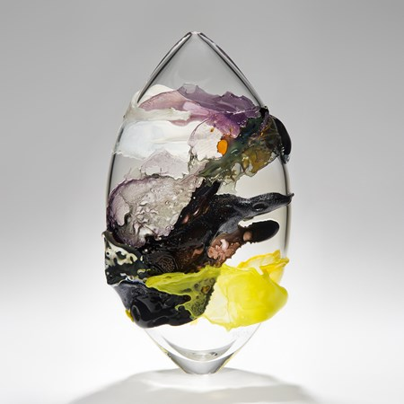 modern abstract art clear glass vessel ornament with light and dark coloured exterior