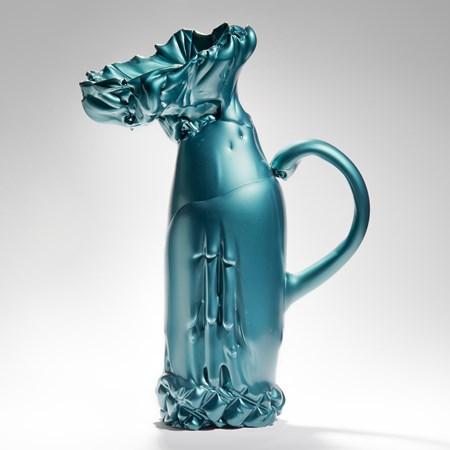 experimental scandinavian glass art sculpture of pitcher with handle in green