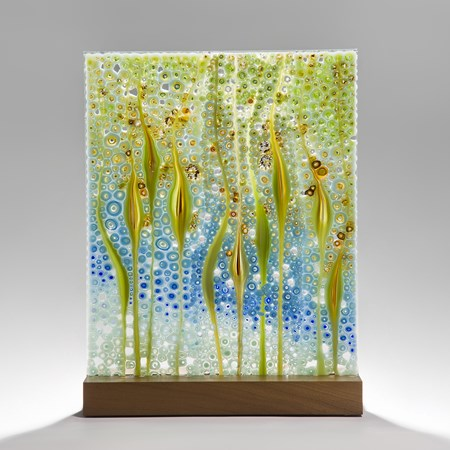 fused tropical coloured glass sheet sculpture with walnut base