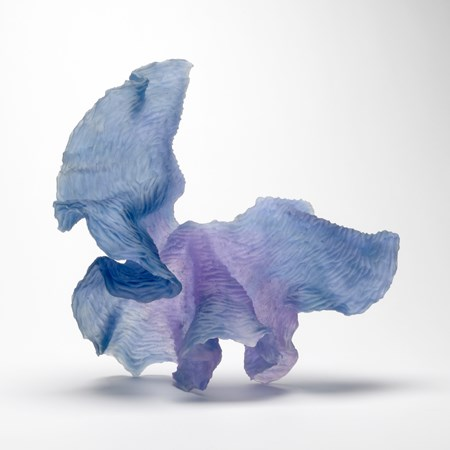 blue and pink cast art-glass sculpture with abstract shape