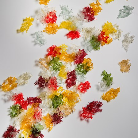 fused glass art sculpture of autumnal leaves
