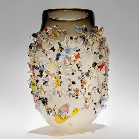 amber white contemporary art-glass sculptural vessel made from handblown glass with dozens of multicoloured crystals adorning exterior