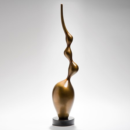 tall bronze abstract centrepiece sculpture on limestone base