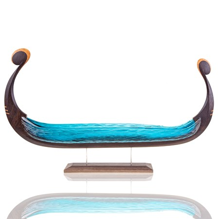 artwork of viking longboat made from dark brown wood and blue glass