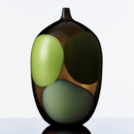 modern art glass vase in dark brown with light green grey and black blobs