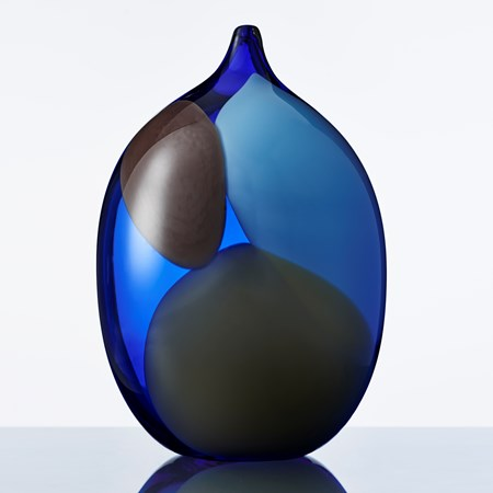 blue and black modern art glass vase sculpture