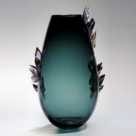 tall green glass vase sculpture with lilac crystal adornments