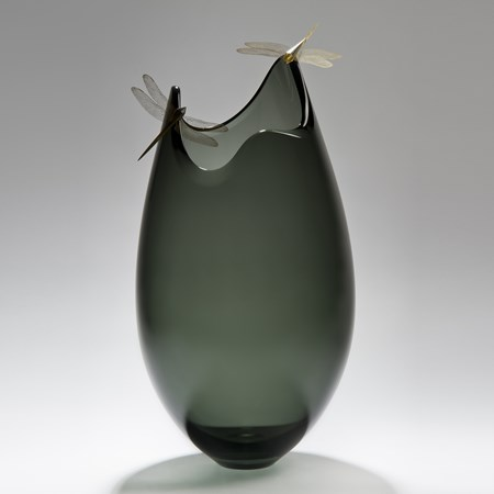 contemporary art glass sculpture of vase with assymetrical top adorned by two gold plated dragonflies