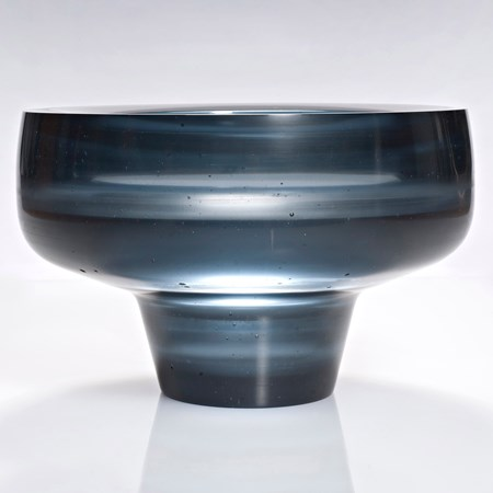 dark grey sculpted glass bowl with thin base