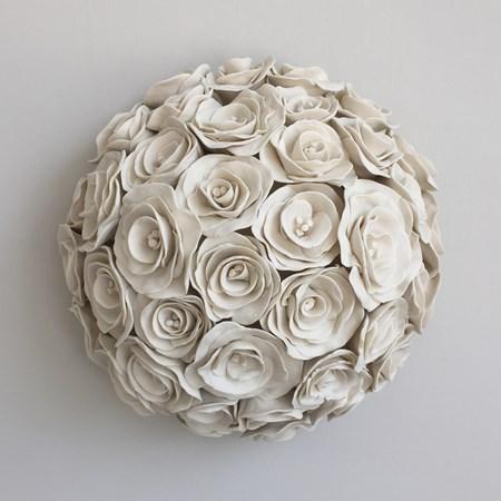 porcelain decorative ceramic sculpture of roses in white