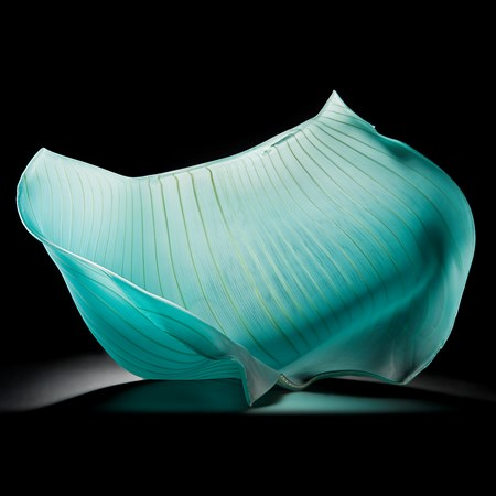 turquoise freehand blown glass sculpture of a petal