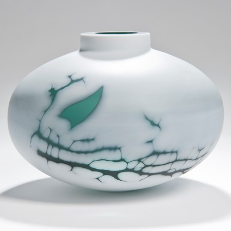 cameo glass sculpted vessel in white with faint green pattern