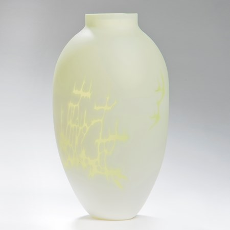 cameo art glass vase in white with yellow patterning