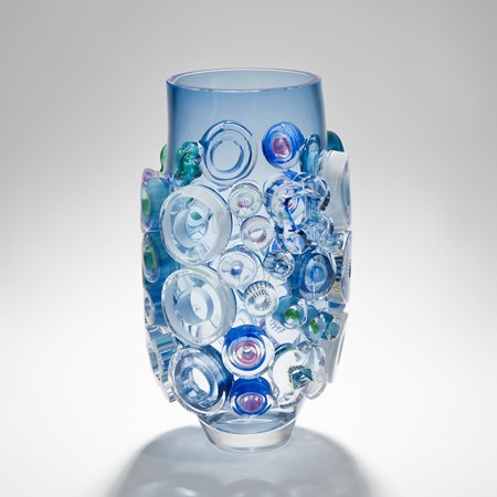 aquamarine handblown glass vase art sculpture with external circular decorations