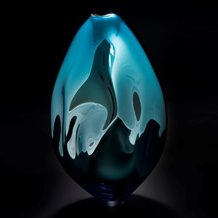 glass art vase in richly coloured turquoise and dark green