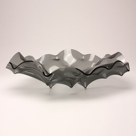 grey bowl ornament made from manipulated glass