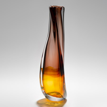 decorative art glass vase with amber coloured base and plum coloured top