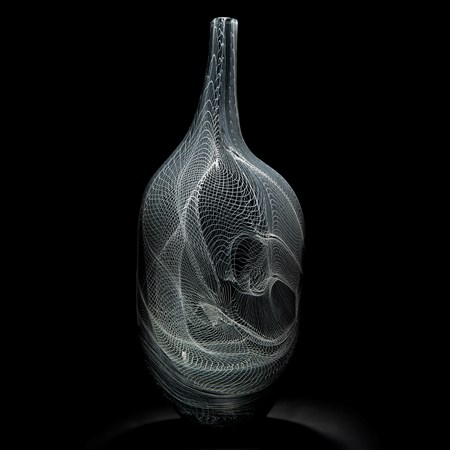 modern grey art-glass vase with intricate white cane pattern