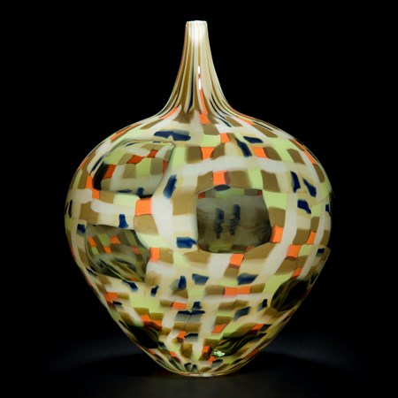 round modern murrini glass vase sculpture in patterned grey green and orange