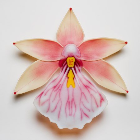 sculpted glass art of an exotic flower in white pink and yellow