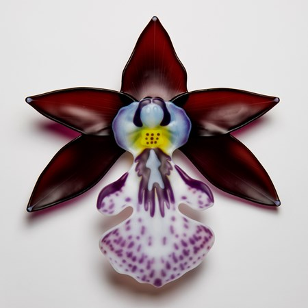 glass sculpture of exotic flower in burgandy white and purple speckles