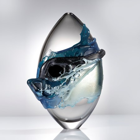 light blue and clear modern glass-art sculpture oval shaped