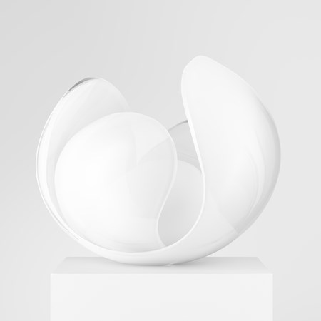 contemporary scandinavian minimalist blown glass artwork in white