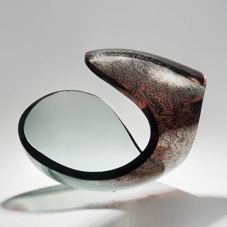 modern art glass sculpture ornament in brown grey and platina