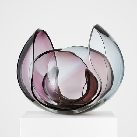 retro futuristic light pink and blue abstract art glass bowl sculpture