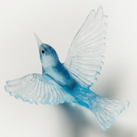 art glass sculpture of silvereye bird in light blue