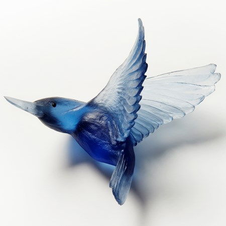 art glass sculpture of kingfisher bird in deep blue