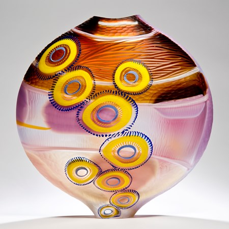 short colourful art glass vase sculpture with elliptical shapes