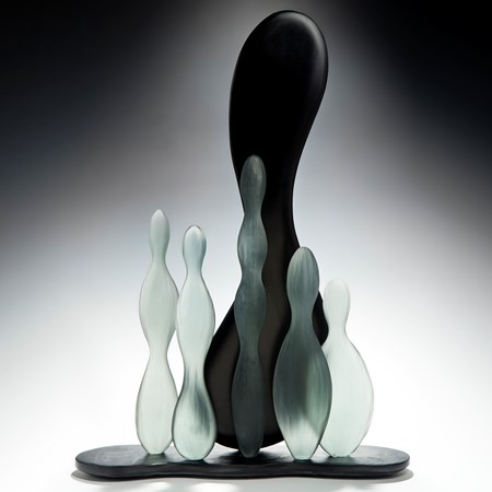 contemporary art-glass sculpture of tall this still life pieces