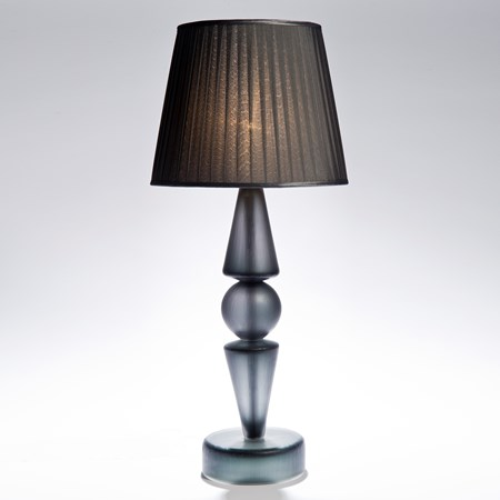 table lamp made from grey steel base and cut glass lampshade