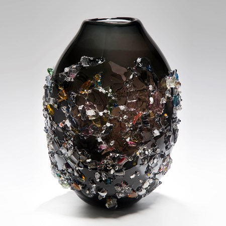 large black sculpted art glass vase with external crystal adornments