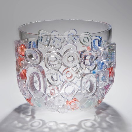 clear blown glass vase sculpture with external circle decorations