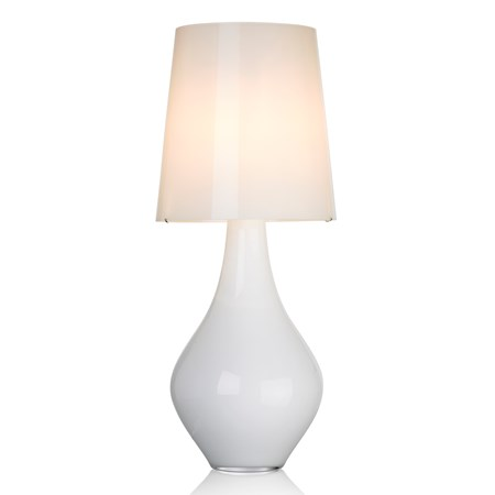 peardrop shaped white sculpted glass lamp with lampshade