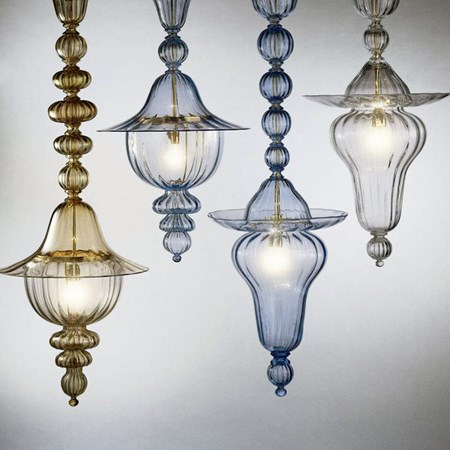 four mouth blown art glass chandeliers with gold plated metal chains