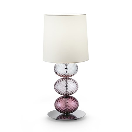hand blown glass table lamp made from three stacked spheres in pink and white