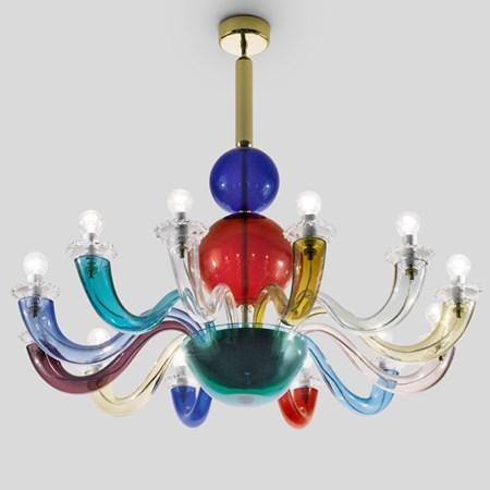 multicoloured handblown glass light fitting