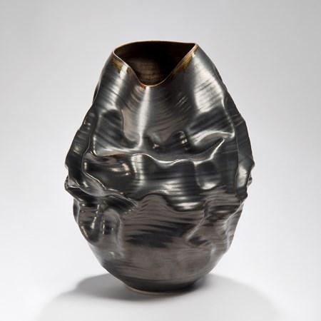 black crumpled ceramic stoneware vase art