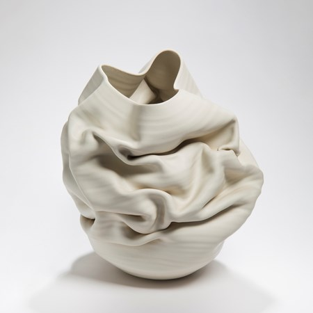crumpled white clay stoneware vase sculpture