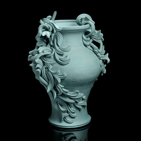 turquoise coloured decorative stoneware vase sculpture with ornate flower trim