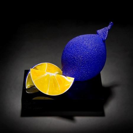 blue and yellow glass art sculpture